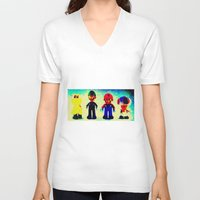 mario bros V-neck T-shirts featuring Super Mario Bros. by Silvio Ledbetter