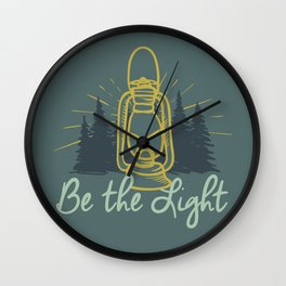 BE THE LIGHT colorful lantern positive Christian quote Wall Clock