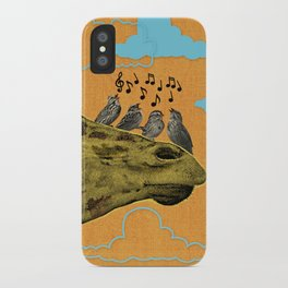 Giraffe & Singing Birds Print iPhone Case