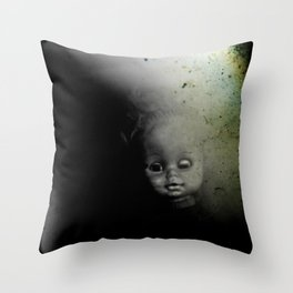 Ghostly Doll Head Throw Pillow