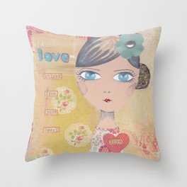 Love shines from your heart Throw Pillow