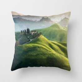 Rolling Green Hills and Wine Vineyards of Tuscany, Italy landscape painting Throw Pillow