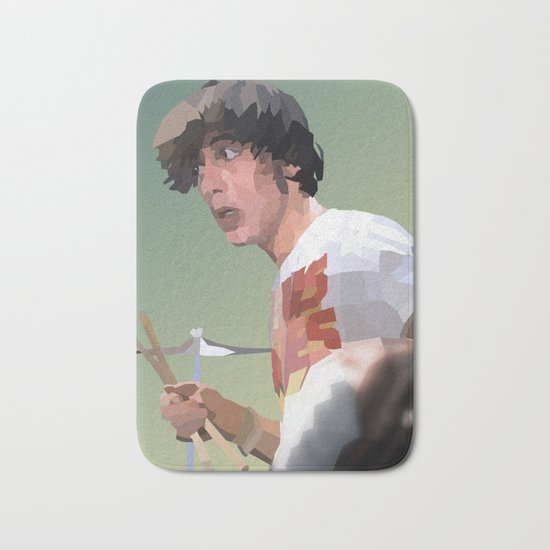 Low Polygon Portrait of Keith Moon Bath Mat