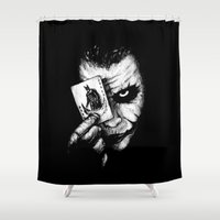 joker Shower Curtains featuring Joker by NickHarriganArtwork