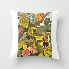 62 Retro Cat Artwork Throw Pillow