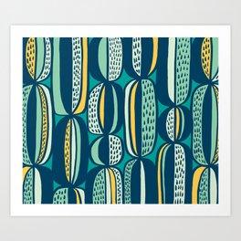 Blue Cactus Garden // mid century modern pattern Art Print