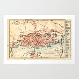 Vintage Map of Mainz Germany (1905) Art Print