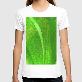 Cool Green Abstract Tulip Flower Petal Pattern T-shirt