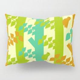 Birds and tree trunks Pillow Sham