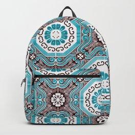 Portuguese Tiles Azulejos Aquamarine Black White Pattern Backpack