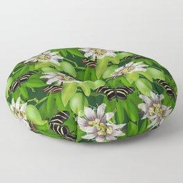 Zebra Longwing visits Passionflower Vine Floor Pillow