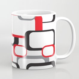 Red Black Gray Retro Square Pattern White Coffee Mug