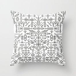 Glyphs - 01 (B&W Edition) Throw Pillow