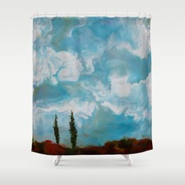 Cypress Trees encaustic wax painting by Seasons Kaz Sparks Shower Curtain