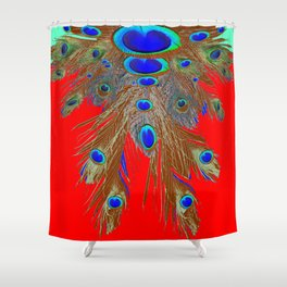 DECORATIVE  RED GREEN BLUE PEACOCK FEATHER JEWELS Shower Curtain