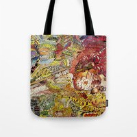 superheros Tote Bags featuring BoooM by MelissaMoffatCollage