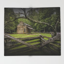 Oliver Log Cabin in Cade's Cove Throw Blanket