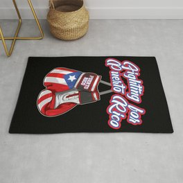 Fighting For Puerto Rico - Boxing Gloves Flag Rug