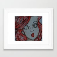 the little mermaid Framed Art Prints featuring Little mermaid by Nichola irvine art