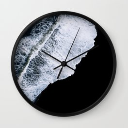 Waves crashing on a black sand beach – minimalist Landscape Photography Wall Clock