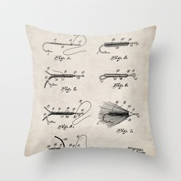 Fly Fishing Patent - Fisherman Art - Antique Throw Pillow