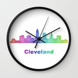 Rainbow Cleveland skyline Wall Clock