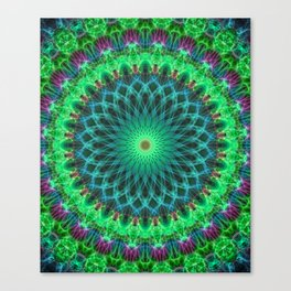 Glowing mandala in bright green and purple Canvas Print