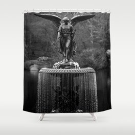 Believe in Magic, Bethesda Terrace Angel Fountain black and white photograph / art photography Shower Curtain