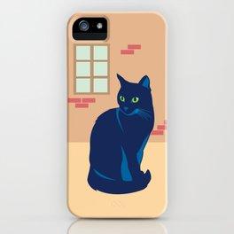 Black cat on the street iPhone Case