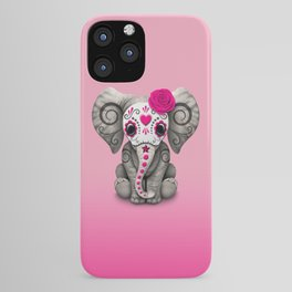 Pink Day of the Dead Sugar Skull Baby Elephant iPhone Case
