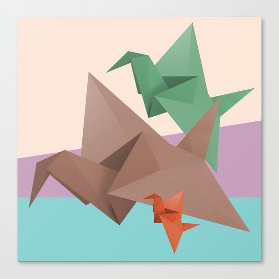 PAPER CRANES (Origami abstract birds animals nature) Canvas Print