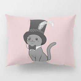 Grey Cat Wears Plumed Top Hat Pillow Sham