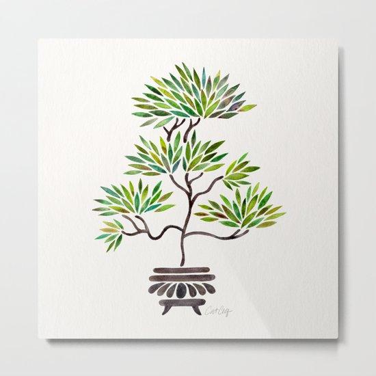 Bonsai Tree – Green Leaves Metal Print