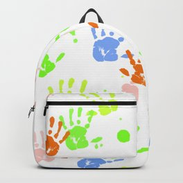 Hand Print Pattern Backpack