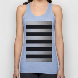 Simply Striped White Gold Sands on Midnight Black Unisex Tank Top