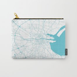 White on Turquoise Dublin Street Map Carry-All Pouch
