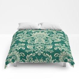 Damask vintage in green Comforters
