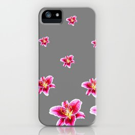 STRAWBERRY COLORED ASIAN LILIES GREY ART iPhone Case