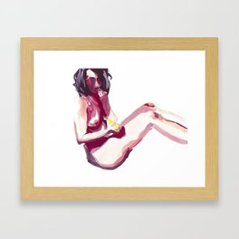 Claudia and Her Yellow Banana Framed Art Print
