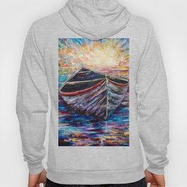 Wooden Boat at Sunrise my Painting with a Palette Knife Hoody