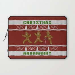 Ugly Christmas Sweater Scared Gingerbread Men Red Laptop Sleeve