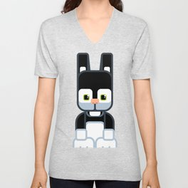 Black Bunny Rabbit - Super Cute Animals Unisex V-Neck