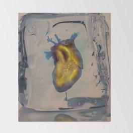 Heart of Gold encased in ice Throw Blanket
