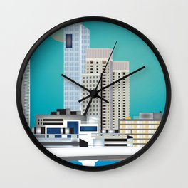 Buenos Aires, Argentina - Skyline Illustration by Loose Petals Wall Clock