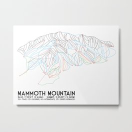Mammoth Mountain, CA - Minimalist Trail Map Metal Print