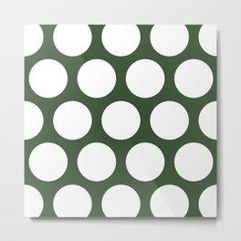 Large Polka Dots: Pine Green Metal Print