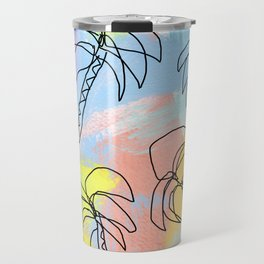 Live This Moment no.1 - illustration palm tree pattern summer tropical beach California pastel color Travel Mug