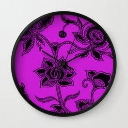 Vintage Floral Dazzling Violet Wall Clock