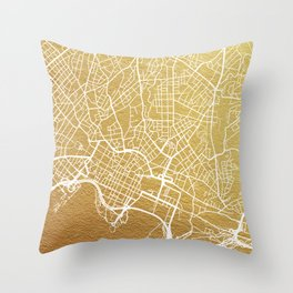 Gold Oslo map Throw Pillow
