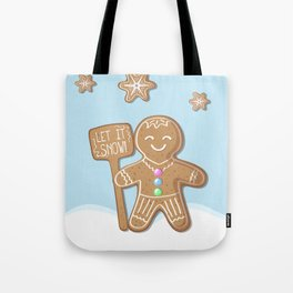 Merry Christmas Blue Poster with Gingerbread Man and Snowflakes Tote Bag